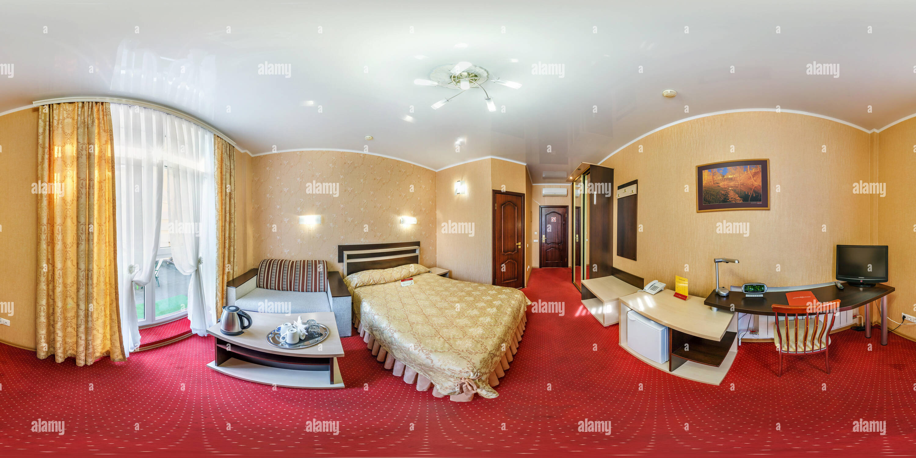 360 View Of Minsk Belarus August 2017 Full Spherical Seamless Hdr Panorama 360 Degrees Angle View In Interior Bedroom Of Modern Flat Apartments Of Hotel In Alamy