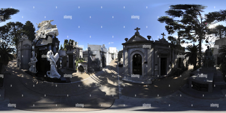 Vista panorámica en 360 grados de El Cementerio de La Recoleta, Buenos Aires.