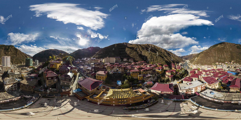 Vista panorámica en 360 grados de Ciudad Rulong(新孜甘龍縣茹龍鎮), Condado de Xinlong, Ganzi, Sichuan, CN.