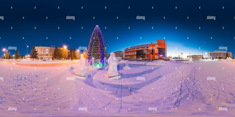 Vista panorámica en 360 grados de Año Nuevo 2019 en Zavodoukovsk [2]