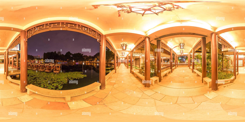 Vista panorámica en 360 grados de Liwan lake,Guangzhou