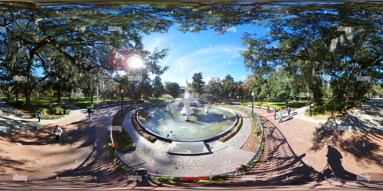 Vista panorámica en 360 grados de Forsyth Park Fountain, Savannah, Georgia