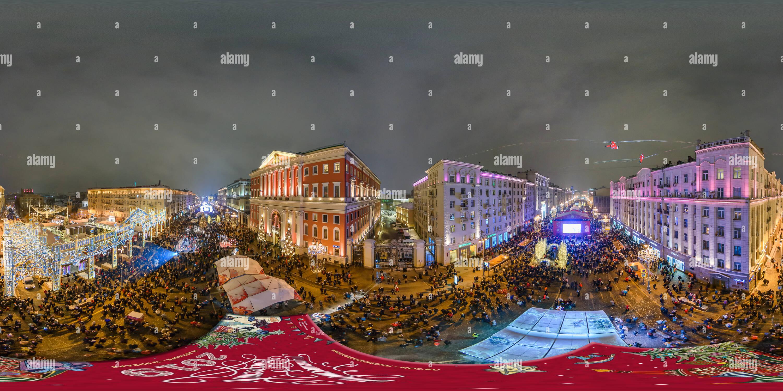 Vista panorámica en 360 grados de Viaje a la Navidad Tverskaya Square