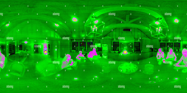 Vista panorámica en 360 grados de Cocina en el infrarrojo térmico