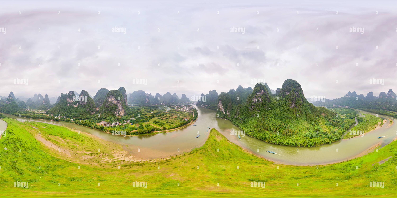 Vista panorámica en 360 grados de Río Li, la ciudad de Xing Ping