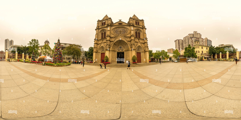 Vista panorámica en 360 grados de La Sacred Heart Cathedral,Guangzhou