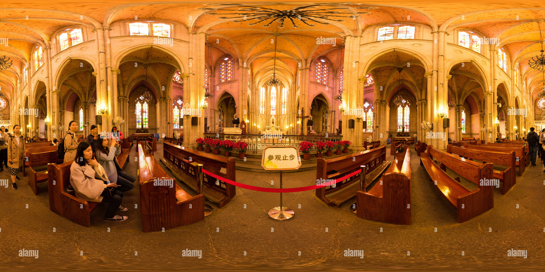 Vista panorámica en 360 grados de La Sacred Heart Cathedral,Guangzhou(dentro)