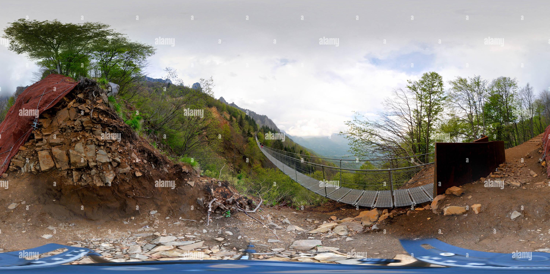 Vista panorámica en 360 grados de Piccole Dolomiti, Ponte Tibetano.