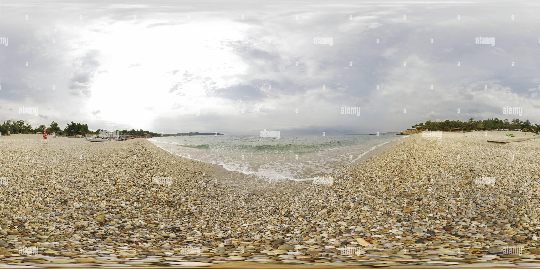 Mañana de Verano en Pefkari camping Playa de Thassos, Grecia Imagen De Stock