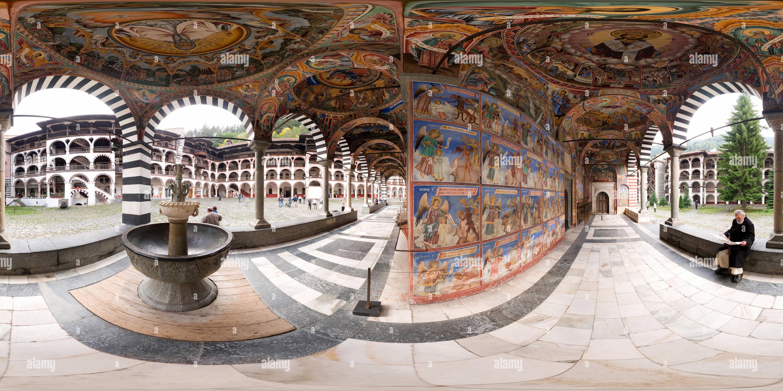 Vue panoramique à 360° de Fresques du Monastère de Rila