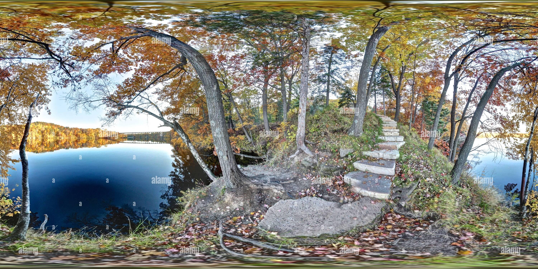 Vue panoramique à 360° de Étang de Dell, 3e Rue Ouest Parc, une visite de Eau Claire, WI