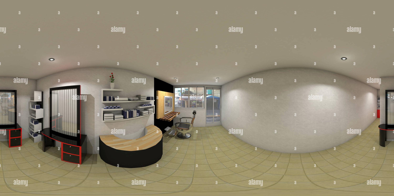 Vue panoramique à 360° de salon de coiffure