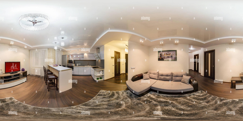 Vue panoramique à 360° de Plafond brillant et transition de niveau