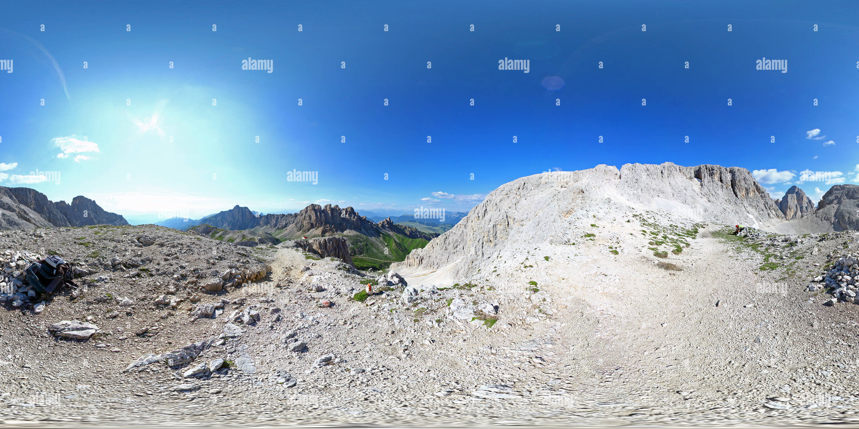 Vue panoramique à 360° de Dolomites: Rifugio Alpe di Pneus/Schutzhaus Tierser Alpl, Denti di Terrarossa/Rosszähne Molignon, pass, pass-Principe