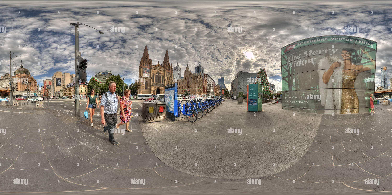 Vue panoramique à 360° de La place de la fédération - coin de Flinders Street et St Kilda Rd, Melbourne
