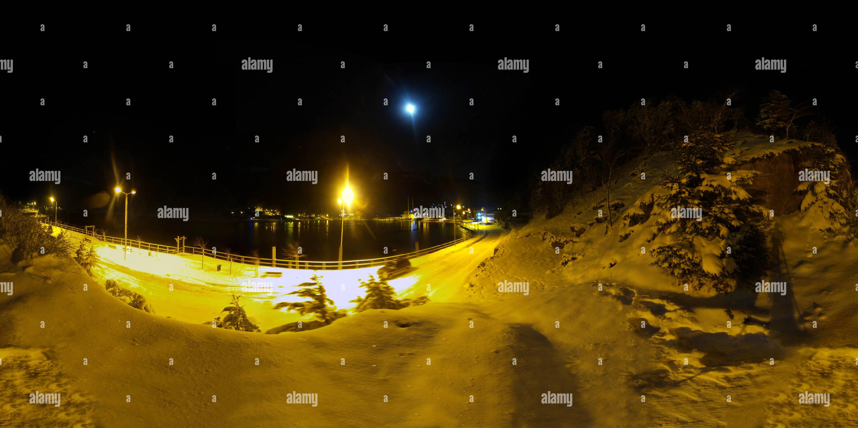 Uzungöl - Nuit - panorama- PanoVizyon.net la neige Photo Stock