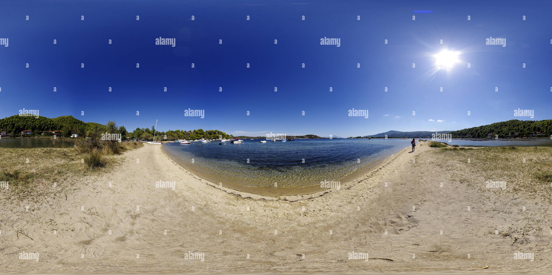 Camping Rea plage en été, Sithonia, Grèce Photo Stock