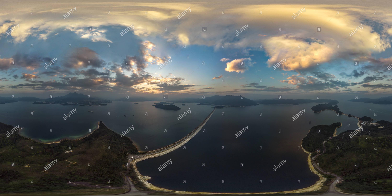 Coucher du soleil @ réservoir de Plover Cove(船灣淡水湖日落), Tai Po, HK. Photo Stock