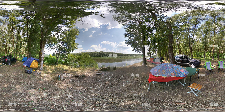 Notre camping sauvage sur la Desna Photo Stock