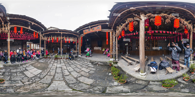 Théâtre Nuo Tian Long 貴州天龍屯堡地戲(Ancienne Ville), comté de Pingba, Guizhou. Le CN. Photo Stock