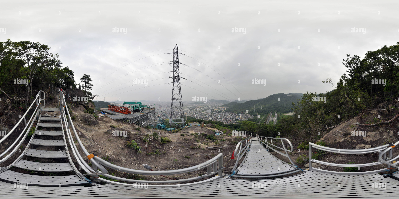 Site de construction de la ligne de transmission sur une crête à Himeji, Japon Photo Stock