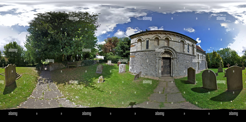 L'église Saint-Nicolas, Barfrestone, Angleterre Photo Stock