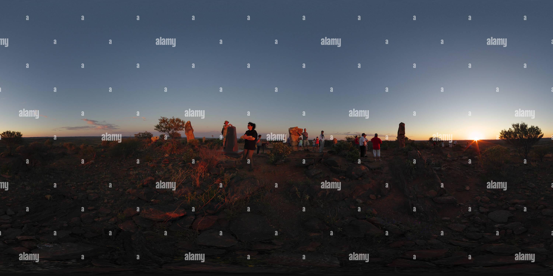 Coucher de soleil au désert vivant Symposium de Sculpture près de Broken Hill Photo Stock