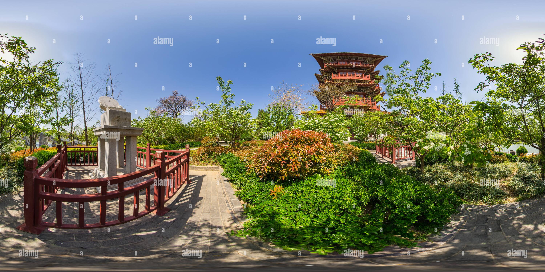 Fuyun Tower à Qingming Paysage Riverside Garden Photo Stock