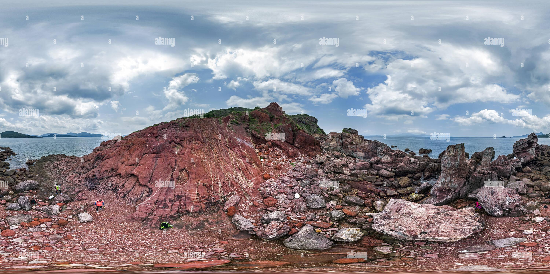 Ville perdue dans le désert @ Port Island(赤洲赤漠迷城), HK Geopark. Photo Stock
