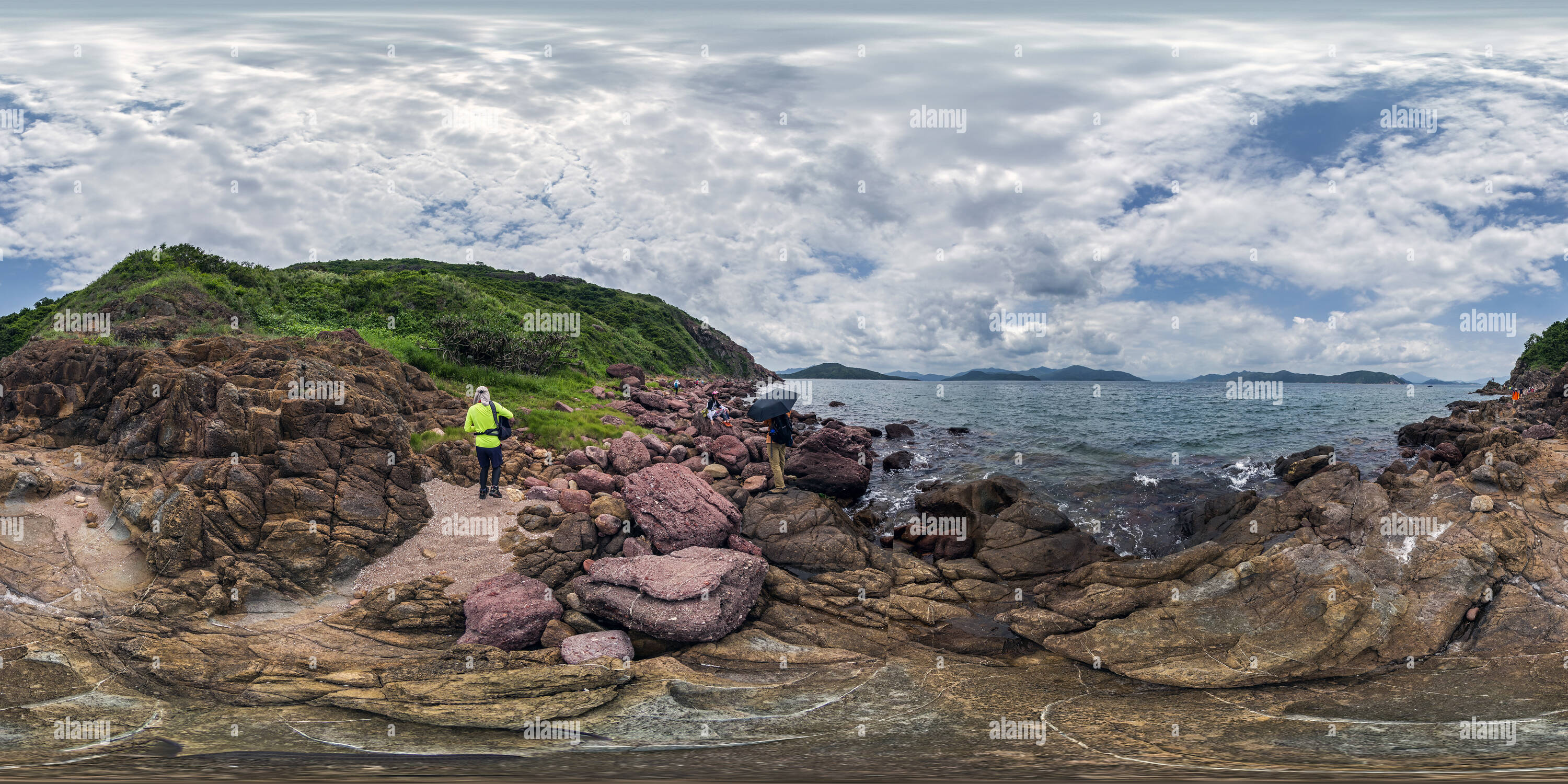 La Côte rouge(赤洲紅色海岸), l'île de Port, HK Geopark. Photo Stock