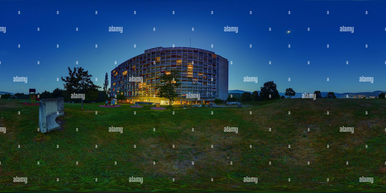 Prima del Sunrise, Unite abitazione di Le Corbusier, Firminy-Vert, Auvergne-Rhône-Alpes 7884 Immagini Stock