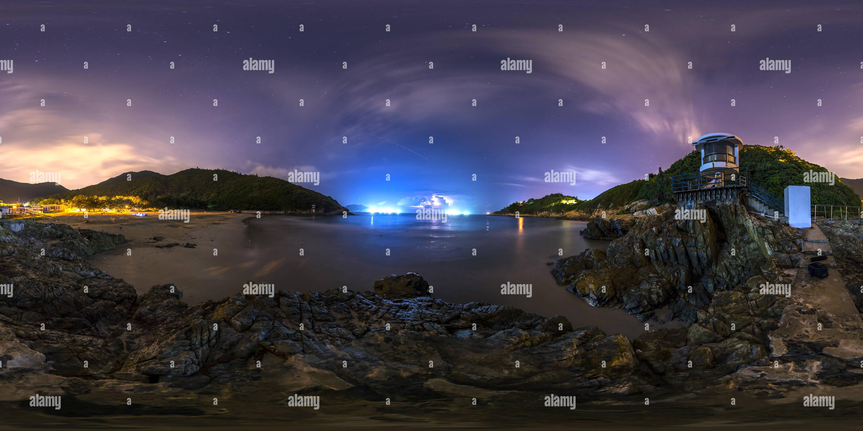 Un fulmine a Big Wave Bay(港島大浪灣閃電), HK Immagini Stock